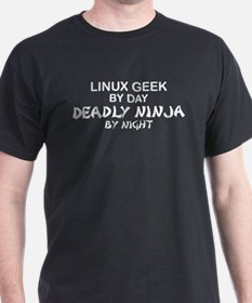 Linux Geek Deadly Ninja by Night T-Shirt