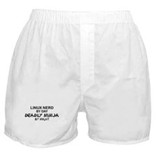 Linux Nerd Deadly Ninja by Night Boxer Shorts