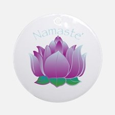 Namaste and Lotus Ornament (Round)