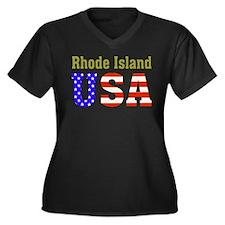 Rhode Island USA Women's Plus Size V-Neck Dark T-S