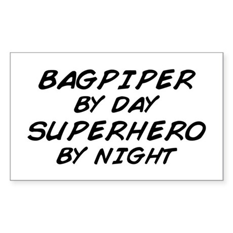 Bagpiper Superhero Rectangle Sticker