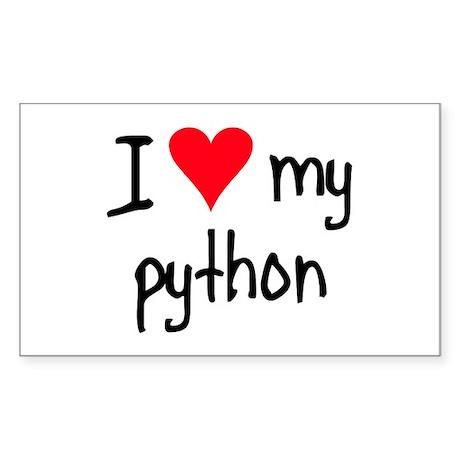 I LOVE MY Python Sticker (Rectangle)