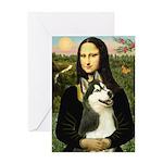 Mona Lisa & Siberian Husky Greeting Card