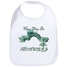 Here they Be Monsters Bib