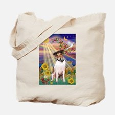Autumn Sun & Jack Russell Terrier Tote Bag