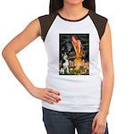 Mid.Eve / Siberian Husky Women's Cap Sleeve T-Shir
