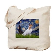 Starry Night & Jack Russell Terrier Tote Bag