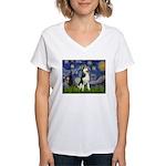 Starry Night & Husky Women's V-Neck T-Shirt