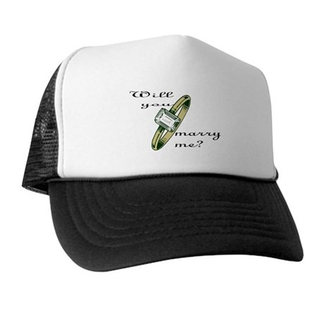 """""""Will you marry me?' w/gold ring Trucker Hat"""