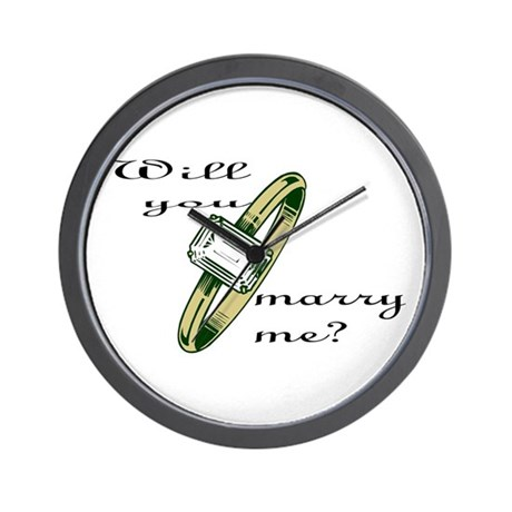"""Will you marry me?' w/gold ring Wall Clock"