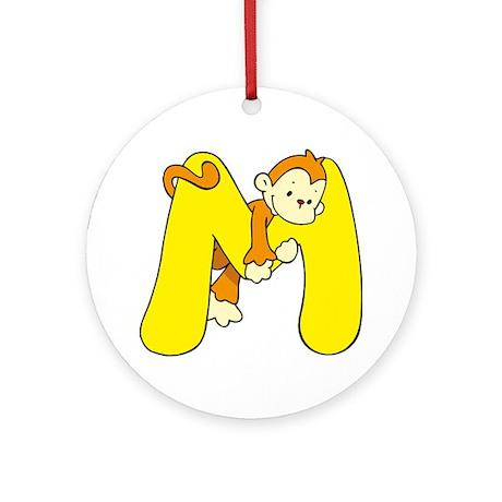Zoo Alphabet M - Monkey Ornament (Round)