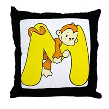 Zoo Alphabet M - Monkey Throw Pillow