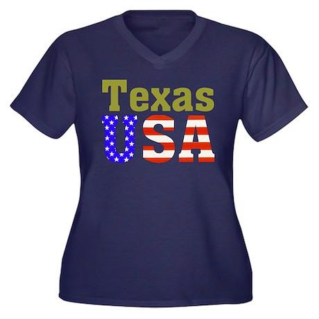 Texas USA Women's Plus Size V-Neck Dark T-Shirt