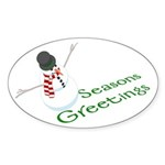 Snowman Seasons Greetings Oval Sticker (50 pk)