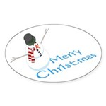 Snowman Merry Christmas Oval Sticker (10 pk)