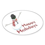 Snowman Happy Holidays Oval Sticker (10 pk)