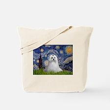 Starry Night & Maltese Tote Bag