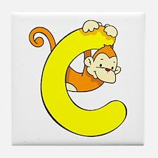 Zoo Alphabet C - Monkey Tile Coaster