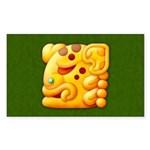 Fiery Maya Jaguar Head Rectangle Sticker 50 pk)