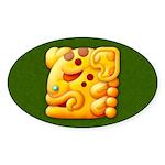 Fiery Maya Jaguar Head Oval Sticker (10 pk)