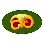 Fiery Maya Jaguar Claw Oval Sticker (10 pk)