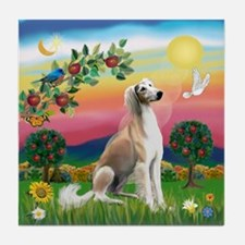 Bright Country with Saluki Tile Coaster