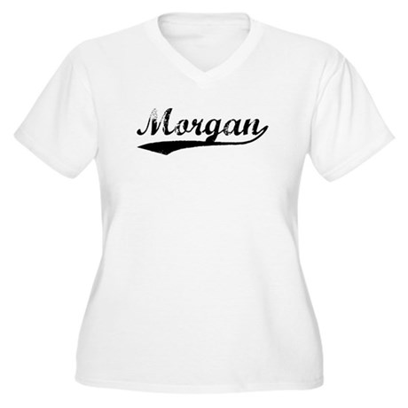 Vintage Morgan (Black) Women's Plus Size V-Neck T-