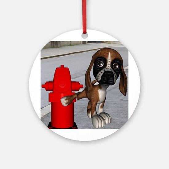 Dog Firehydrant Ornament (Round)