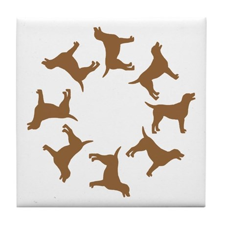 Chocolate Lab Circle Tile Coaster