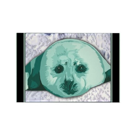 Baby Harp Seal art Rectangle Magnet