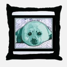 Baby Harp Seal art Throw Pillow