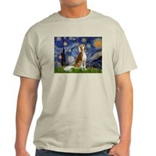 Starry Night & Saluki Ash Grey T-Shirt