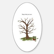Reap What You Save Money Tree Oval Decal