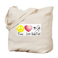 Peace, Love, Needlepoint Tote Bag