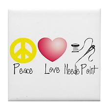 Peace, Love, Needlepoint Tile Coaster