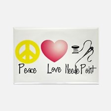 Peace, Love, Needlepoint Rectangle Magnet