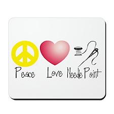 Peace, Love, Needlepoint Mousepad