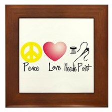 Peace, Love, Needlepoint Framed Tile