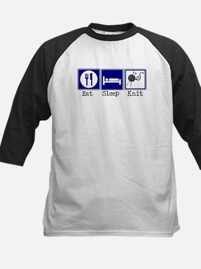Eat, Sleep, Knit Kids Baseball Jersey