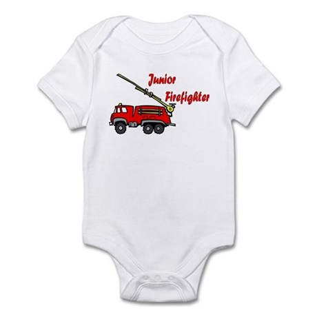 """""""Junior Firefighter"""" with fire truck Infant Creepe"""