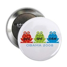 """Obama Frogs Yes We Can 2.25"""" Button"""