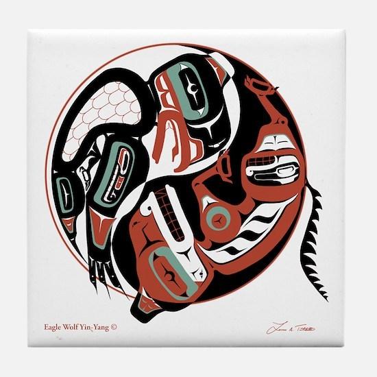 Eagle Wolf Yin-Yang Tile Coaster