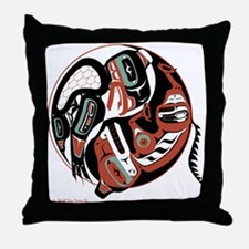 Eagle Wolf Yin-Yang Throw Pillow