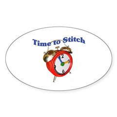 Time To Stitch - Crafts Oval Sticker (10 pk)