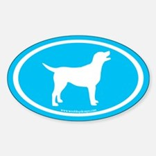 labrador retriever oval (wh/blue) Oval Decal