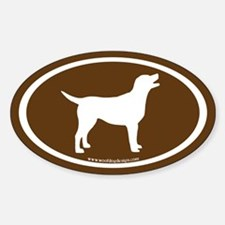 labrador retriever oval (wh/brown) Oval Decal