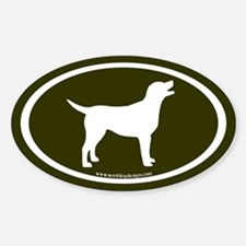labrador retriever oval (wh/olive) Oval Decal