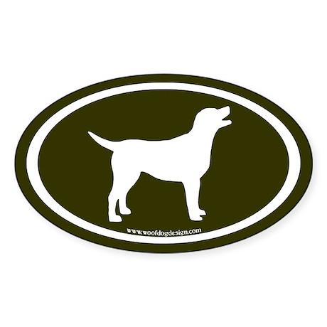 labrador retriever oval (wh/olive) Oval Sticker