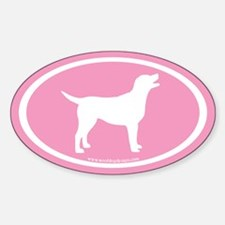 labrador retriever oval (white/pink)Oval Decal