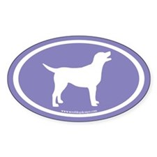 labrador retriever oval (wh/purple) Oval Decal